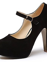 cheap -Women's Heels Light Soles Spring Fall PU Casual Dress Buckle Chunky Heel Black 2in-2 3/4in