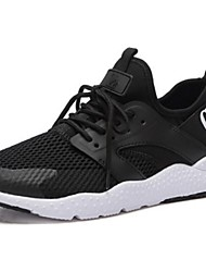 Women's Athletic Shoes Comfort Spring Fall Tulle Running Shoes Athletic Lace-up Flat Heel Black Flat