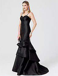cheap -Mermaid / Trumpet Spaghetti Strap Sweep / Brush Train Satin Cocktail Party / Formal Evening / Holiday Dress with Tiered by TS Couture®