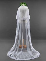 Duas Camadas Borda com aplicação de Renda Borda Recortada Véus de Noiva Véu Capela Com Apliques Lantejoulas Renda Tule