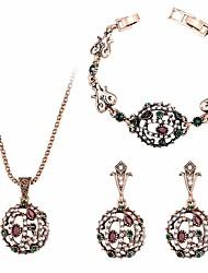 Недорогие -Жен. Серьги-слезки Ожерелья с подвесками Браслет Синтетический алмаз Изумрудный Сплав Геометрической формы Роскошь Классика Винтаж