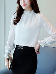 Women's Going out Work Cute Street chic Spring Fall Slim Blouse Print Stand Long Sleeve Polyester Medium