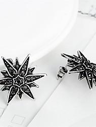 abordables -Mujer Pendientes cortos Zirconia Cúbica Negro Gema Obsidiana Personalizado Clásico Vintage Bohemio Básico Estilo lindo Hipoalergénico