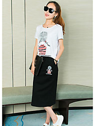 Women's Casual/Daily Simple Summer T-shirt Skirt Suits,Sexy Lady Round Neck Short Sleeve