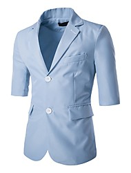 cheap -Men's Daily Work Going out Street chic Spring Fall Regular Blazer, Solid Notch Lapel Polyester