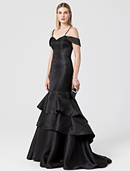 cheap -Mermaid / Trumpet Off Shoulder Sweep / Brush Train Satin Formal Evening Dress with Tiered by TS Couture® / Lace Up / Open Back