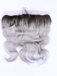 Недорогие -Beata hair 1b серая волна тела 13x4 кружева передняя часть закрытие ombre бразильские человеческие волосы серая лобная нет remy hair