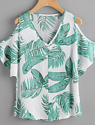 cheap -Women's Daily Casual Summer Blouse,Solid Floral V Neck Short Sleeves Spandex