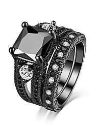 cheap -Women's Luxury Obsidian AAA Cubic Zirconia Band Ring - Circle Luxury Vintage Magnetic Therapy For Wedding Engagement Ceremony Evening