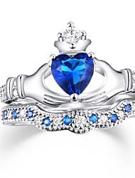 abordables -Femme Luxe Zircon Zircon / Alliage Cœur Anneau de bande - Personnalisé / Luxe / Classique Bleu royal Bague Pour Noël / Mariage / Soirée