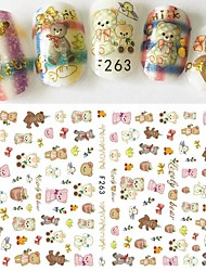 1pcs New Nail Art DIY Beauty Design Lovely Bear Doll Cartoon Animal Cute Pet Cute Decoration Nail Art 3D Sticker F263