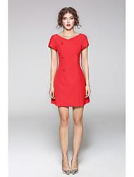 cheap -JOJO HANS Women's Daily Sheath Dress,Solid Print V Neck Knee-length Short Sleeves Cotton Polyester Fall Mid Rise Micro-elastic Medium