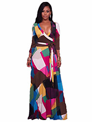 cheap -Women's Beach Boho Swing Dress - Geometric, Print High Rise Maxi Deep V