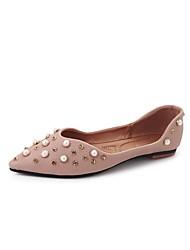 abordables -Mujer Zapatos de taco bajo y Slip-On Confort Verano PU Vestido Perla Tacón Plano Rosa Almendra 5 - 7 cms