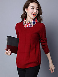 Women's Casual/Daily Regular Pullover,Solid Print Shirt Collar Long Sleeves Cotton Others Fall Winter Medium Micro-elastic
