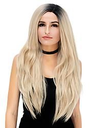preiswerte -Damen Synthetische Perücken Kappenlos Lang Glatt Rosa Lila Blau Silber Lila Gold Pink Gefärbte Haarspitzen (Ombré Hair) Halloween Perücke