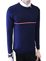 Men's Plus Size Casual Slim Cross Bar Knitted Pullover Cotton Spandex