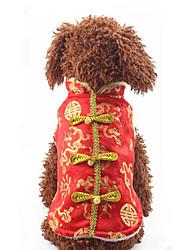 Недорогие -Собака Жилет Одежда для собак Теплый На каждый день Новый год Вышивка Костюм Для домашних животных