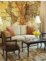 Недорогие -3D С узором Карта Украшение дома Модерн Облицовка стен, холст материал Клей требуется фреска, Обои для дома
