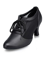 "Women's Modern Breathable Mesh Leather Heels Indoor Sided Hollow Out Cuban Heel Black 2"" - 2 3/4"""