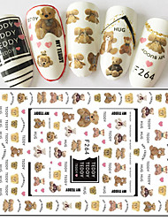 1pcs Fashion Lovely Style Nail Art Sticker Creative Design Cute Bear Doll Pattern Individuality Word 3D Nail Stickers DIY Nail Art Decoration F264