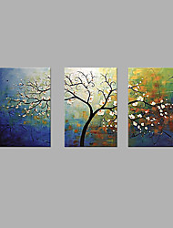 cheap -Oil Painting Hand Painted - Floral / Botanical Artistic Canvas Three Panels