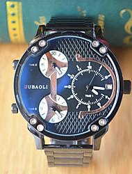 JUBAOLI Homme Montre de Sport Montre Tendance Montre Bracelet Chinois Quartz Triple Fuseaux Horaires Grand Cadran Acier Inoxydable Bande