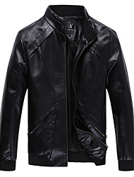 cheap -Men's Daily Punk & Gothic Winter Fall Plus Size Regular Leather Jacket,Solid Stand PU Polyester