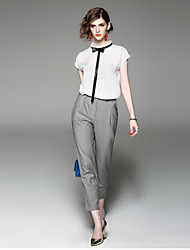 EWUS/Women's Casual/Daily Work Street chic Summer Fall T-shirt Pant SuitsSolid Stand Short Sleeve Inelastic