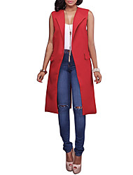Women's Going out Casual/Daily Work Simple Street chic Slim OL Style All Match Pocket Spring Fall VestSolid Shirt Collar Sleeveless Long