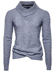 Normal Pullover Homme Sports Décontracté / Quotidien Travail simple Actif Chinoiserie,Couleur Pleine Col Roulé Manches Longues Coton