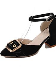 Damen Sandalen Komfort Pumps PU Frühling Sommer Kleid Party & Festivität Schnalle Blockabsatz Schwarz Rosa 5 - 7 cm