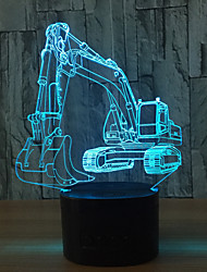 cheap -Excavator 7 Color Lamp 3D Visual Led Night Lights For Kids Touch Usb Table Lampara Lampe Baby Sleeping Nightlight Motion Light