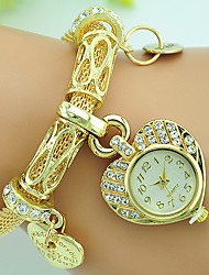 cheap -Women's Fashion Watch Bracelet Watch Quartz Rhinestone Alloy Band Heart shape Silver Gold