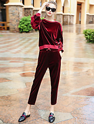 BLUEOXY Women's Sports Going out Casual/Daily Simple Fall Winter Hoodie Pant SuitsSolid Crew Neck Long Sleeve Inelastic