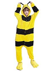 abordables -Pyjamas Kigurumi avec Chaussons Abeille Combinaison de Pyjamas Costume Flanelle Cosplay Pour Adulte Pyjamas Animale Dessin animé Halloween