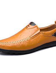 baratos -Homens sapatos Courino Couro Primavera Verão Conforto Mocassins e Slip-Ons Estampa Animal para Casual Preto Amarelo Marron