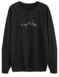 preiswerte -Damen Pullover Alltag Ausgehen Druck Rundhalsausschnitt Mikro-elastisch Polyester Langärmelige Winter Herbst