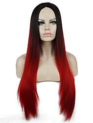 "Cosplay Wigs 32"" Long Silky Straight Ombre Red Black Mix Synthetic Full Wig"