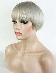 Short Straight silvery Blonde  Bob, Swept Bangs Full Synthetic Wig