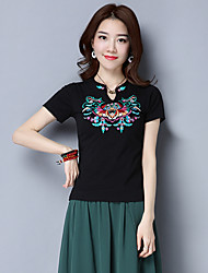 Women's Casual/Daily Chinoiserie T-shirt,Embroidery V Neck Short Sleeves Cotton