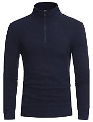 abordables -Hombre Regular Pullover Casual/Diario Simple,Un Color Escote Chino Manga Larga Algodón Poliéster Otoño Invierno Medio Microelástico