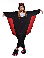 abordables -Pyjamas Kigurumi Chauve souris Combinaison de Pyjamas Costume Polaire Noir Cosplay Pour Adulte Pyjamas Animale Dessin animé Halloween