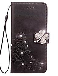 Недорогие -Кейс для samsung galaxy s6 край s6 кейс держатель карты кошелек горный хрусталь с подставкой флип тиснение полный корпус корпус цветок