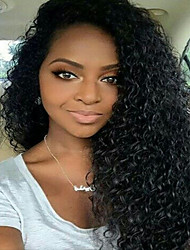 cheap -Human Hair Lace Front Wig Curly Kinky Curly 130% Density 100% Hand Tied African American Wig Natural Hairline Short Medium Long Women's