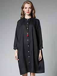 JIANRUYI Women's Casual/Daily Simple Summer ShirtSolid Stand Long Sleeves Linen Thin