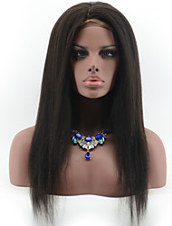 cheap -Brazilian Virgin Hair Italian Yaki Straight Glueless Lace Front Human Hair Wigs for Black Women Natural Black Color Lace Wigs With Baby Hair