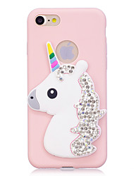billige -Taske til iphone 7 7plus case cover rhinestone rainbow enhjørning stereo mønster slik tpu materiale telefon taske til iphone 6s 6 6plus 6s