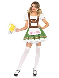 baratos -Ternos de Empregadas Bavarian Oktoberfest Fantasias de Cosplay Roupa Mulheres Adulto Oktoberfest Festival / Celebração Trajes da Noite