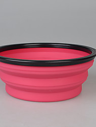 cheap -Dog Bowls & Water Bottles Pet Bowls & Feeding Portable Foldable Blushing Pink Blue Green Red Yellow